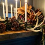 Refined & Rustic Christmas Mantle in the Library