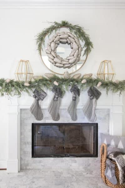 Christmas Mantle Decor & Simple Snow Globe Lanterns