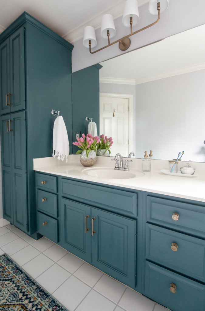 painted cabinets bathroom makeover
