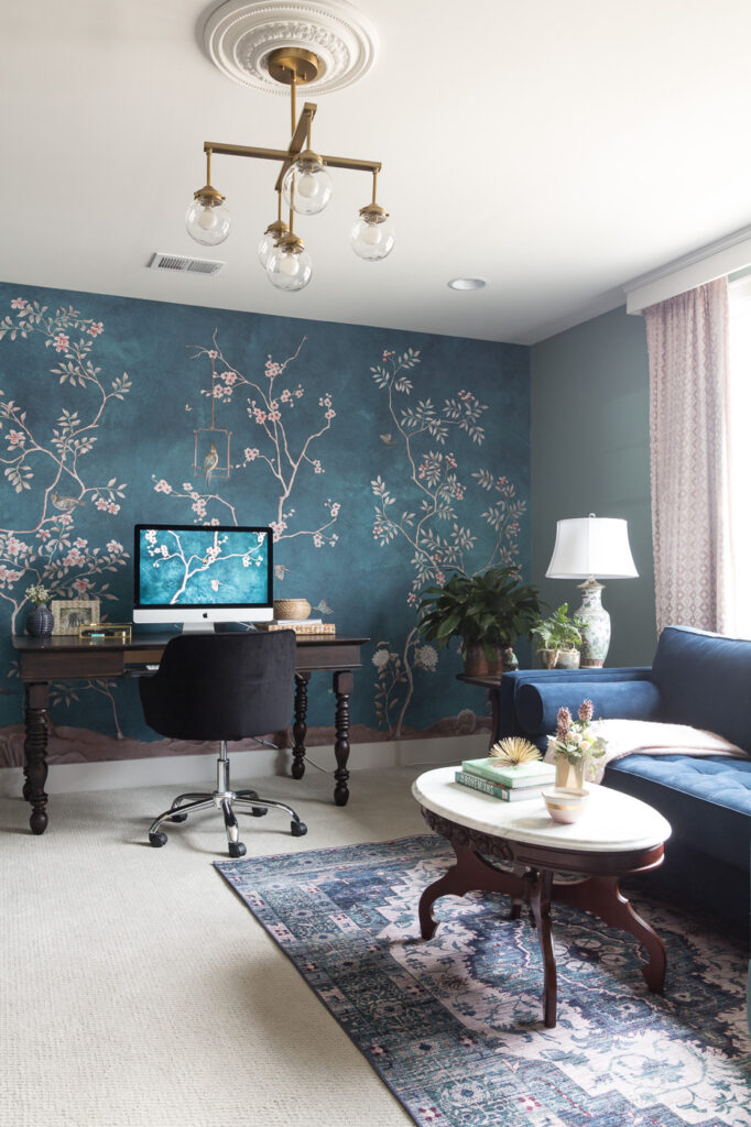 Office Chinoisiere with blue pink and green studio
