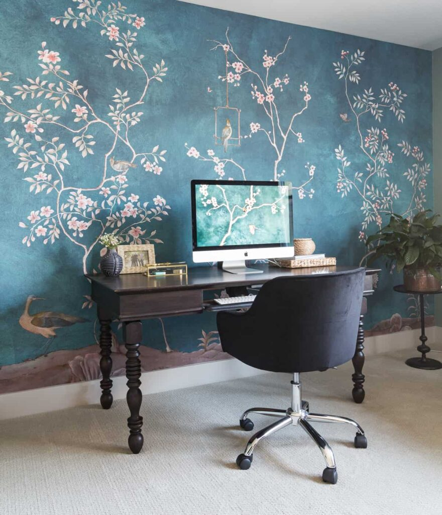 chinoiserie wallpaper office
