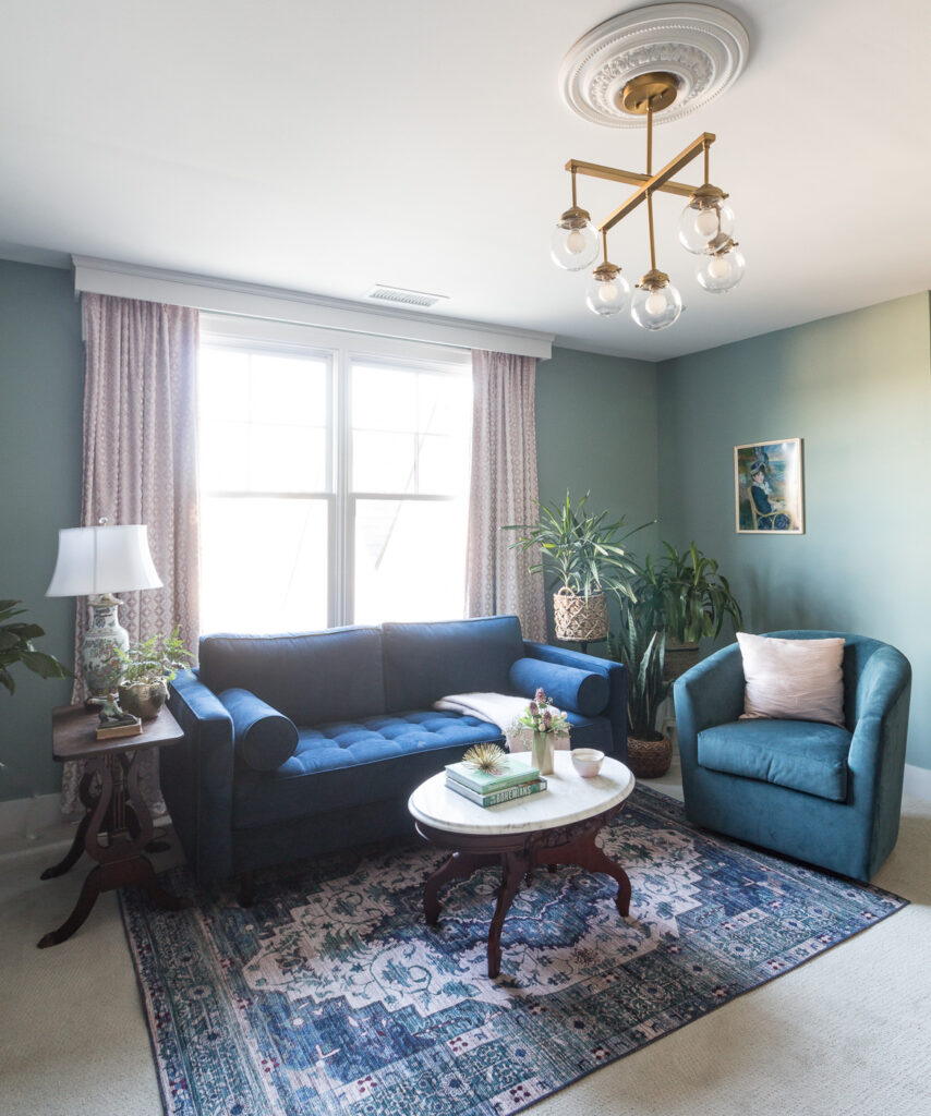 blue and white rug combo