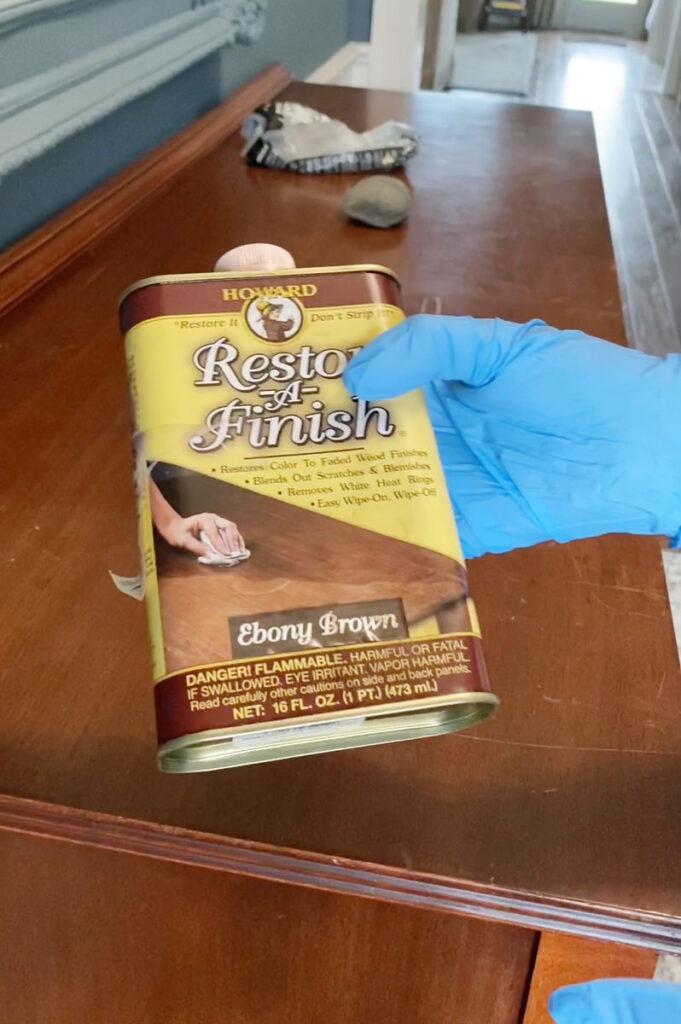 wear gloves when using restor a finish