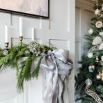 Christmas Mantel Mixing Faux and Fresh Greenery with grey accents