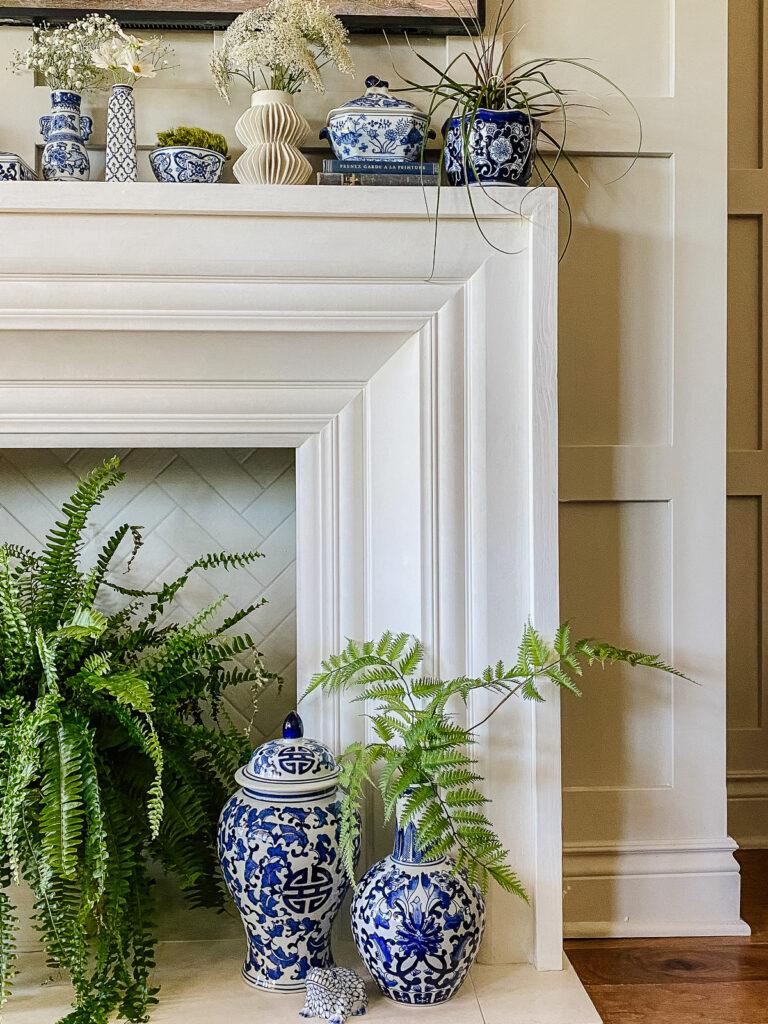 Blue and white porcelain on summer mantel