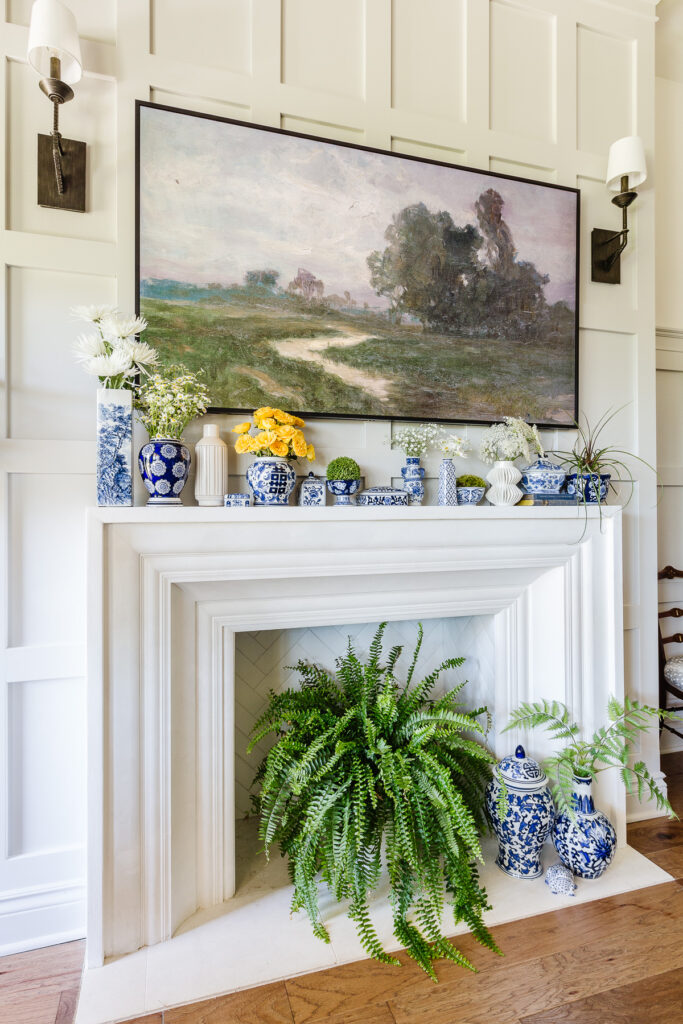 Blue and white chinoiserie mantel for summer with ferns
